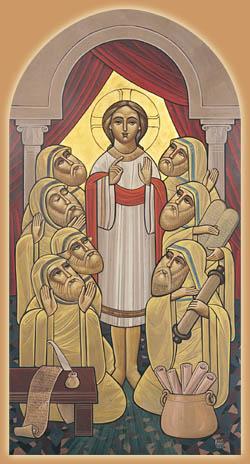 Jesus Doctores templo icono copto Isaac Fanous