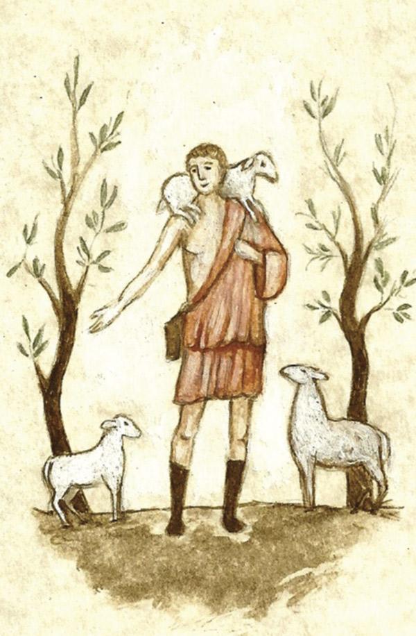 Dibujo de Cristo Buen Pastor realizado en la Abadía