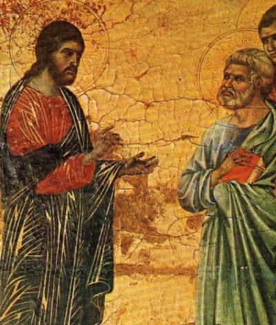 Cristo y Pedro a orillas del lago Tiberíades